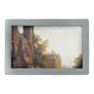 City view with figures by Cornelis Springer Rectangular Belt Buckle