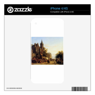 City view with figures by Cornelis Springer Skins For iPhone 4