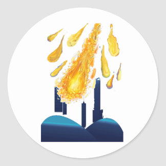 city with meteor/golden ball collection classic round sticker