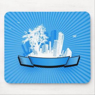 City with tree mouse pad