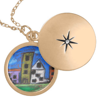 Citycscape Gold Plated Necklace