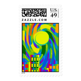 Cityscape Abstract in Bright Colors Postage Stamp
