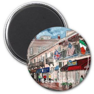 Cityscape architecture historical art, Savannah GA 2 Inch Round Magnet