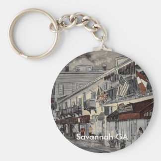 Cityscape architecture historical art, Savannah GA Basic Round Button Keychain