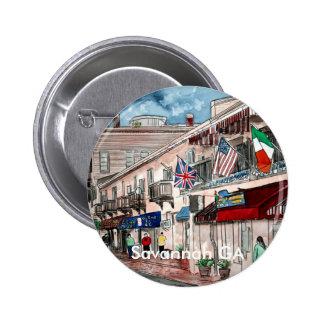 Cityscape architecture historical art, Savannah GA Button