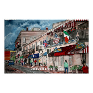 Cityscape architecture historical art, Savannah Ga Posters