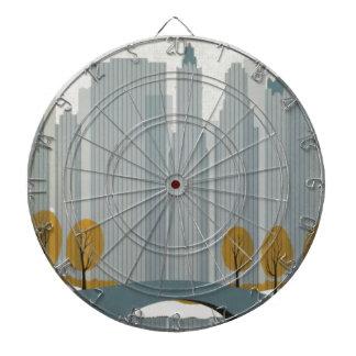 Cityscape art dart board