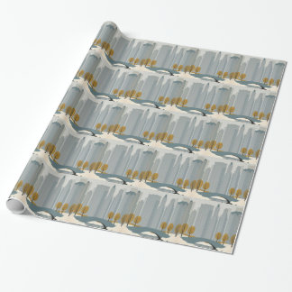 Cityscape art wrapping paper
