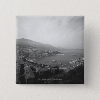 Cityscape at harbour B&W elevated view Button