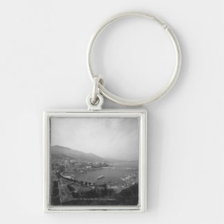 Cityscape at harbour B&W elevated view Keychain