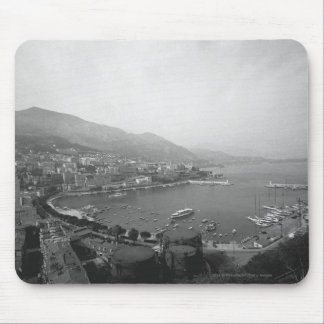 Cityscape at harbour B&W elevated view Mouse Pad