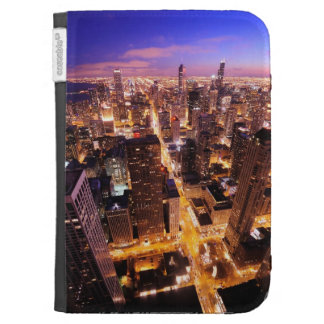 Cityscape at night of Chicago Kindle 3 Cases