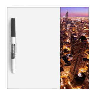 Cityscape at night of Chicago Dry-Erase Boards