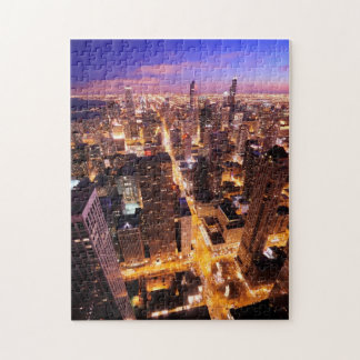 Cityscape at night of Chicago Jigsaw Puzzle