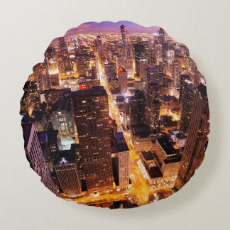 Cityscape at night of Chicago Round Pillow