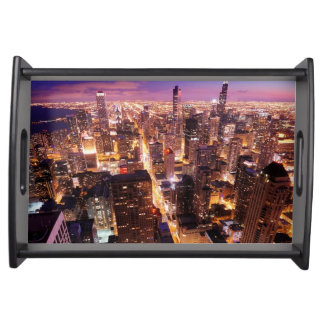 Cityscape at night of Chicago Serving Platter