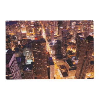 Cityscape at night of Chicago Placemat