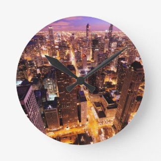 Cityscape at night of Chicago Round Clock