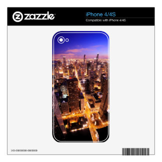 Cityscape at night of Chicago iPhone 4S Skin