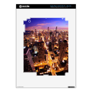 Cityscape at night of Chicago Skin For iPad 3