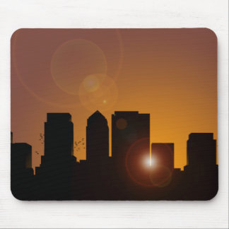 Cityscape at sunrise mouse pad