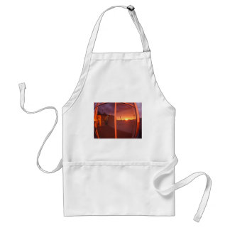 Cityscape at sunset, which is reflected in the win adult apron