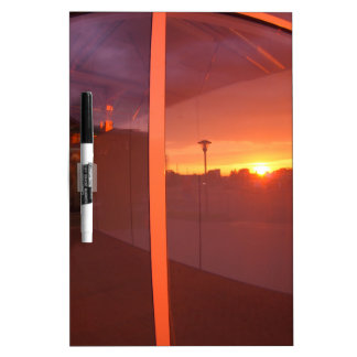 Cityscape at sunset, which is reflected in the win Dry-Erase board