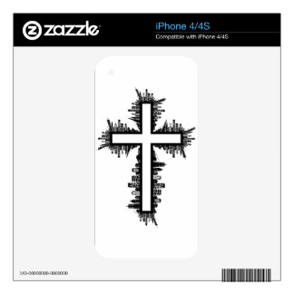 Cityscape Cross Decal For iPhone 4