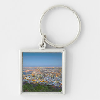 Cityscape From Summit Of Signal Hill At Dusk Keychain