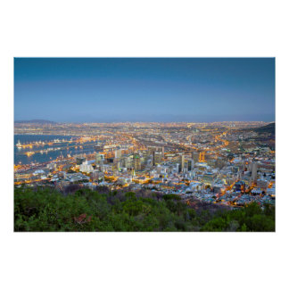 Cityscape From Summit Of Signal Hill At Dusk Poster