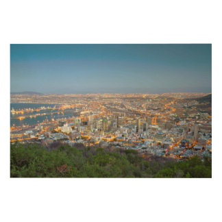 Cityscape From Summit Of Signal Hill At Dusk Wood Wall Art