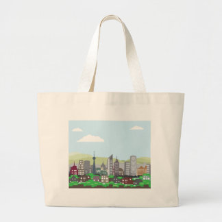 Cityscape Hills Vector homes and skyscrapers Large Tote Bag