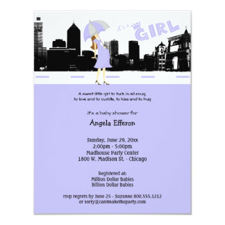 Cityscape Lavender and Gray Baby Shower Invitation