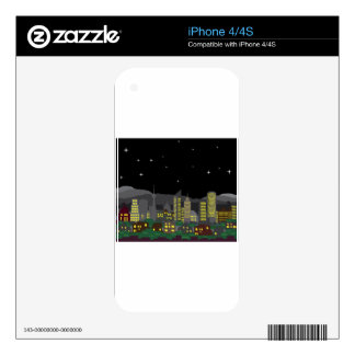 Cityscape Night Vector homes and skyscrapers iPhone 4 Skin