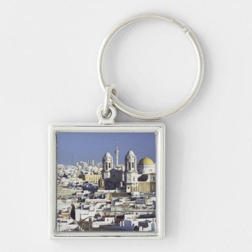 Cityscape of Cadiz, Spain Silver-Colored Square Keychain
