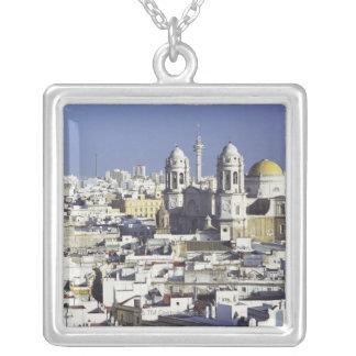 Cityscape of Cadiz, Spain Square Pendant Necklace