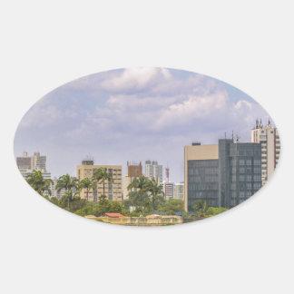 Cityscape of Recife, Pernambuco Brazil Oval Sticker