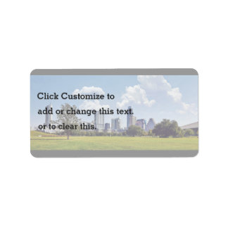 Cityscape on a nice, clear day label