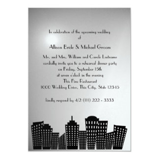 Cityscape Rehearsal Dinner 5x7 Paper Invitation Card