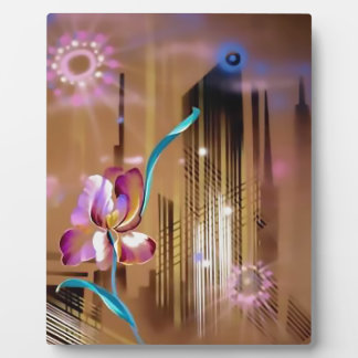 Cityscape skyscraper and flower Abstract Display Plaque