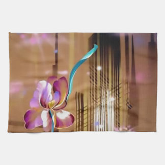 Cityscape skyscraper and flower Abstract Kitchen Towel