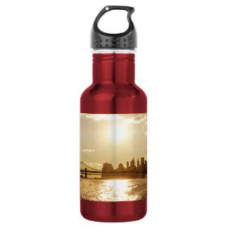 Cityscape Sunset over the New York Skyline 18oz Water Bottle