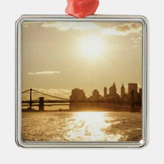 Cityscape Sunset over the New York Skyline Ornaments