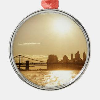 Cityscape Sunset over the New York Skyline Christmas Ornament