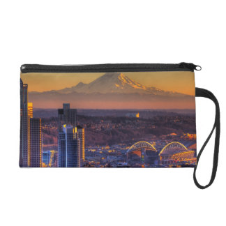 Cityscape view of Seattle downtown, football Wristlets