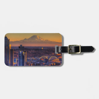 Cityscape view of Seattle downtown, football Bag Tag