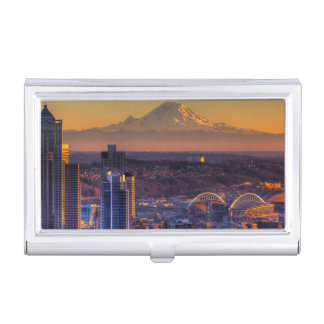 Cityscape view of Seattle downtown, football Business Card Case