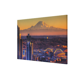 Cityscape view of Seattle downtown, football Canvas Print