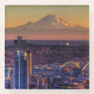 Cityscape view of Seattle downtown, football Glass Coaster