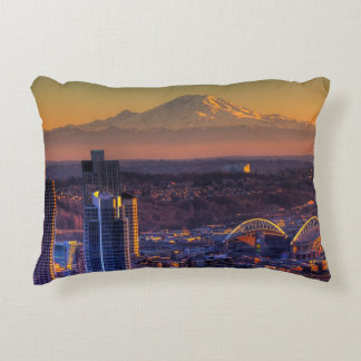 Cityscape view of Seattle downtown, football Accent Pillow